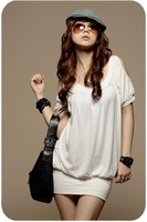 free shipping Round Collar off shoulder  Sexy T-shirt White  JY13030501