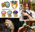 Many colors available Oval Ring with Turquoise &amp; Cat&#39;s Eye Stone &amp; Gold-Toned Finished Metal Free Shipping