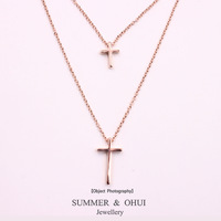 18K Rose gold plated double cross and double chain pendant necklace