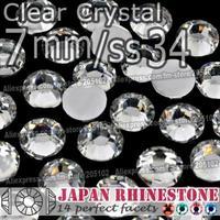 Promotion ! 7mm SS34 Clear Nail Crystals 350pcs/bag,Non Hotfix Rhinestones Resin FlatBack stones glitters for DIY Nail Art Bag