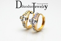 Zircon Jewelry  18k  gold plated    clear CZ earrings with 18 k gold earrings with women's fashion jewelry