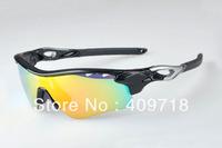 New Brand Sport Sunglass Men's/Women's Fashion Radarlock Black Sunglass Fire Iridium Lens Silver Logo 5 Lenses Polarized