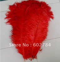 EMS Free shipping red Ostrich Feather 50pcs 40-45cm 16-18 inches ostrich plume wedding feather