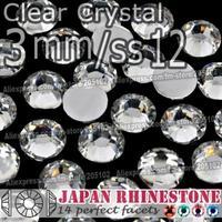 Promotion ! 3mm SS12 Clear Nail Crystals 2500pcs/bag,Non Hotfix Rhinestones Resin FlatBack stones glitters for DIY Nail Art Bag