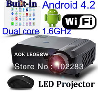 NEW  Android projector with WiFi+HDMI+2*USB+AV+VGA+YPbPr/YCbCr,8GB of storage space
