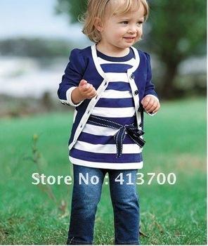 Wholesale- baby girl sets three-piece dress(top+t shirt+jeans) 5sizes,child clothes set,infant tee shirt+coat+jeans,5 set/lot