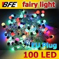 1pcs/Lot 11.85m 100 LED RGB Ball Fairy Lights Christmas Holiday Night Light Lovely EU Plug Drop Ship