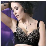 free shipping Wholesale 2012  push up bra adjusted&convertible straps black floral embroidery women bras32,34  36,38 BCDE