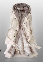 Drop Shipping Faux Fur Lining Women's Beige Fur Coats Winter Warm Long Coat Wholesale