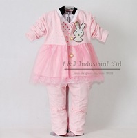 2012 New Autumn Baby Clothes Set 3PCS: Pink Lace Girl Jacket And   T Shirt And Kids Trousers With Rabbit Children Garment