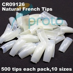FREESHIPPING 500 Natural French Nail Tips False Acrylic Nail Art Tips Dropshipping [Retail] SKU:A0008(China (Mainland))