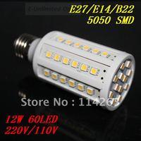 E27 E14 B22 socket 60 LED SMD 5050 12W Cold/warm White Corn Light Bulb 1000LM 220V/110V lamp