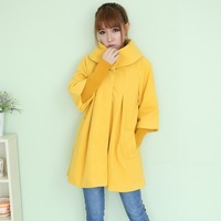 2012 winter plus size women woolen outerwear large lapel outerwear cloak thick outerwear wool coat