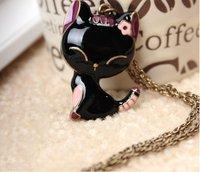 Hot Selling Free ShippingKorean Enamel Cat Vintage Long Necklace N115