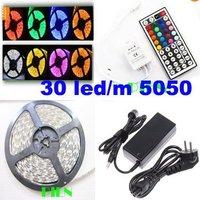 RGB 5050 waterproof 5m 300 led strip tira iluminacion christmas DC12V +44 Key rgb controller+UK EU power supply by DHL 10set