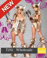 Sexy Vikings Woman Halloween Cosplay Costume Top Skirt Leg Warmers & hood
