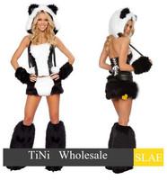 party theme panda  Woman Halloween Costume Top Skirt Leg Warmers Tail & Hood
