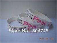 Think Pink Wristband, Breast Cancer Awareness Silicon Bracelet, PrintedLogo, 100pcs/lot, Free Shipping