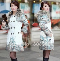 Free shipping excellent quality  women's down jacket coat Line patterns warm coat jacket down dress