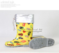 2012 New Kid Waterproof Boot Baby Boy and Girls Fashion Boots Children Rainboots Yellow Cars Comforter Shoes Rubber Baby Shoes