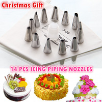 In stock 14PCS Stainless Steel  Cake Decorator Cream Presser Cotton Icing Piping Bag Set