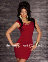 3 colors M XL XXL Pretty women mini dress with chain Fashion clubbing wear Sexy fancy costume Black red blue MN82