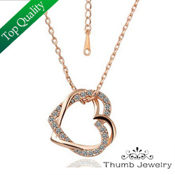 RGN021 Austrian Crystal Necklaces Fashion Rose Gold Plated Double Heart Pendant Nickel Free Fashion Jewelry 2013 Free Shipping(China (Mainland))