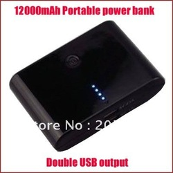 Free shipping portable power bank with 12000mah,charge for iphone,Nokia,Samsung mobile phone,other digital items(China (Mainland))