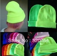 Free Shipping 13Colors Hot Sale 2013 Fashion Knitted Neon Women Beanie Girls Autumn Casual Cap Women's Warm Winter Hats Unisex