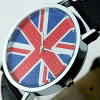 wholesale newest high fashion black leather flag watch women men ladies fashion dress quartz wrist Watch 1022