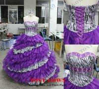 Sexy Zebra Print Quinceanera Prom Dresses  Bridal Wedding Dress Ball Gown, Size 2 4 6 8 10 12 14 16, Style: Z010