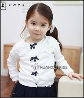 Free shipping! lace with flower cardigan girls wholesale 5pcs/lot girls fashion jackets  baby clothing