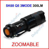 (30 pcs/lot) SK68 Black UltraFire CREE Q5 Zoomable Focus LED 300lumen Waterproof Mini 14500 AA Camp Flashlight Torch 1Mode