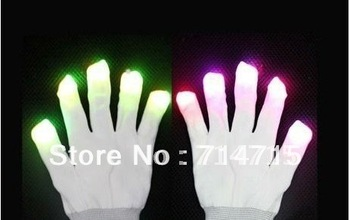 5pair 7 Mode LED Gloves Rave Light Finger Lighting Flashing Glow Mittens white Free / Drop Shipping