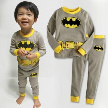 2012 brand new design pajamas clothing set, kids boy's super man long sleeve cotton pajamas 2 pc set free shipping