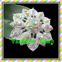50mm wedding rhinestone flower brooch pins