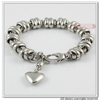 High Polished 316L Stainless Steel Heart Charm Bracelet for Women or Men New Fashoin Jewellery,Wholesale,free shipping,WB008