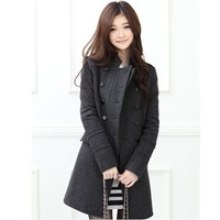 2014 Autumn and Winter Coat Free Shipping Women Medium-long Slim Stand Collar Double Breasted Wool Coat Trench Outerwear