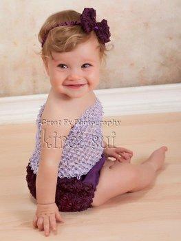 3 Pcs Set - Baby Girls Lavender Crochet Tube Top & Purple Rosettes Bloomer Panties Underwear & Headband NB-12M