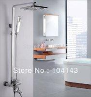 Bathroom Luxury Chrome Rain 8''  Shower Head Arm Set Faucet LJ-50014A