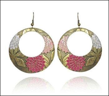 Vintage Drop Earrings Pink Flower Free Shipping Zero Profits Factory Price #CJ001