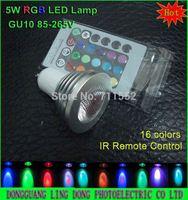 100pcs/lot 16 Colors LED spotlight GU10 4W 5W RGB LED lamp bulb spot light IR Remote Control AC85-265V