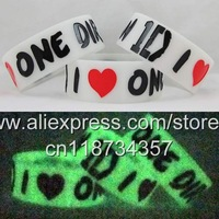 "Glow in the Dark I LOVE ONE DIRECTION Wristband 1D Bracelet,custom design,color filled,1""silicone band,50pcs/lot,free shipping"