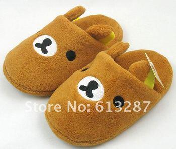 Free Shipping Kawaii  Plush Rilakkuma Easy Bear Fluffy Winter Warm Indoor Novelty Slipper Shoes Retail