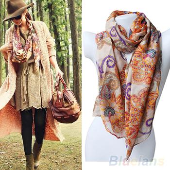 2013 New Women's Cotton Blends Totem Retro Bohemia Scarf Shawl Noble Floral Scarves  000I