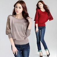 L0213, free drop shipping new arrival women sweater lady pullovers with with batwing sleeve design in three colors