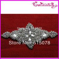 "Silver Beaded Crystal Rhinestone Applique 6"" Bridal Sash Motif couture crystal wedding applique, beaded patch for wedding sash"
