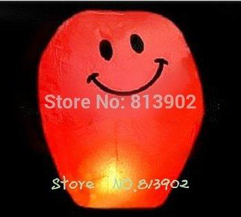 30pcs/lot RED Smiling face High quality Chinese lanterns flying paper sky lanterns Wish gift flying lantern , HX30