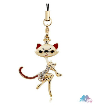 Mobile chain,Y029,Fashion jewelry,Australian Imported Crystal ,lovely cat