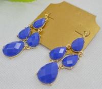 Minimum Order $20 (mixed order)   fashion jewelry  Blue Chandelier Earrings